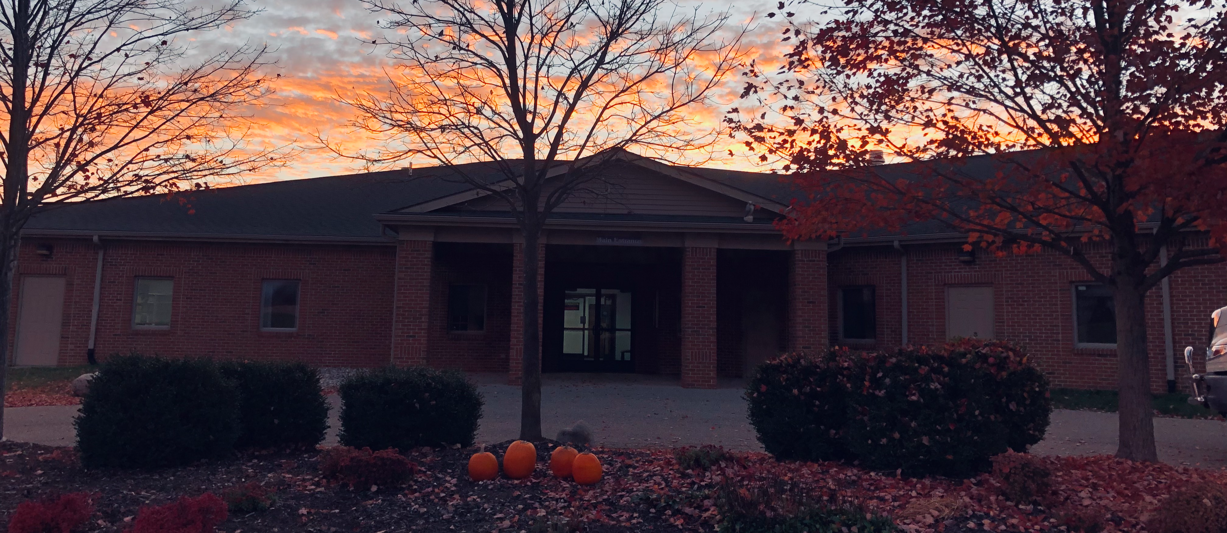 campus with sunset