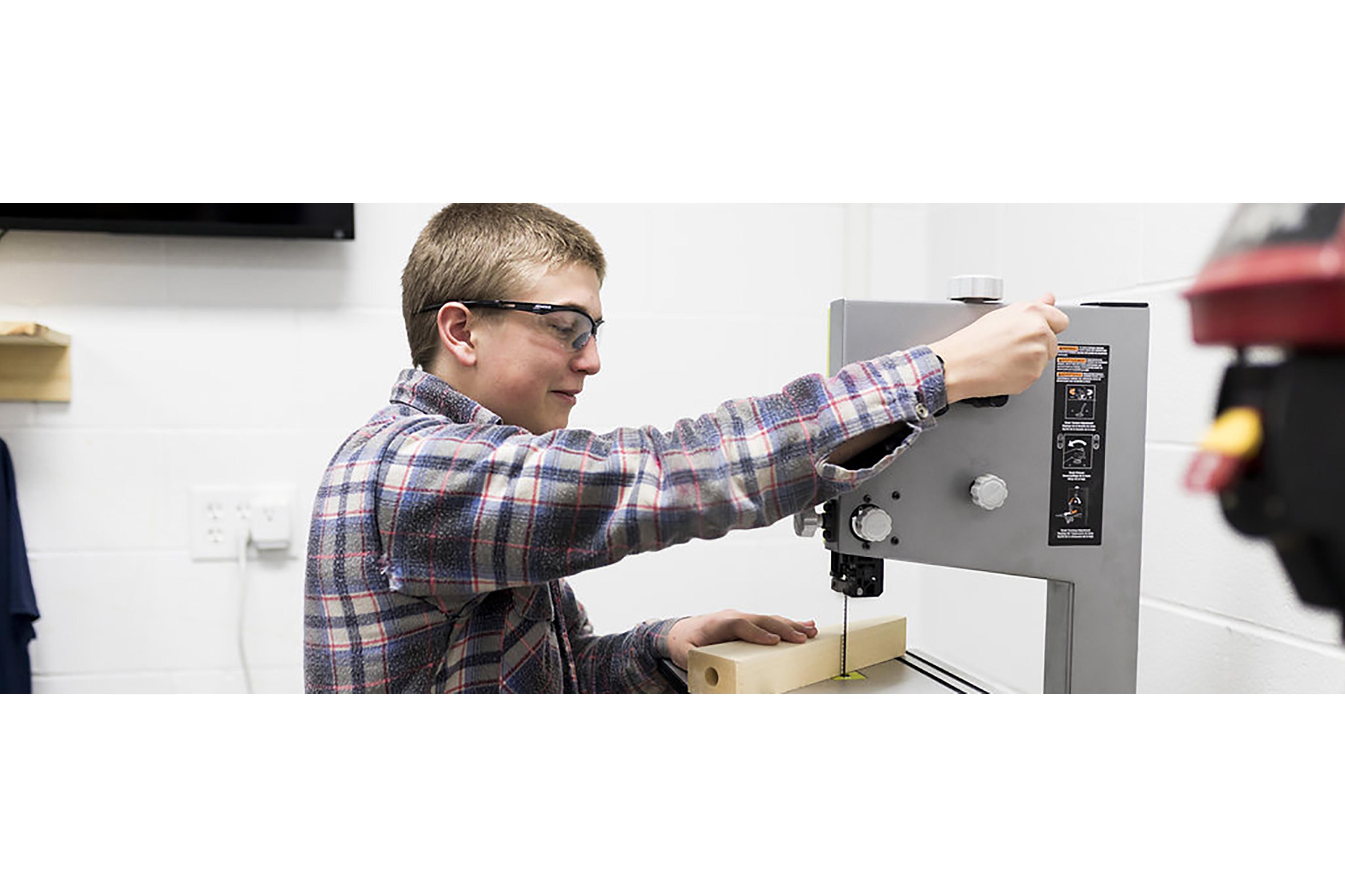 Students using machines