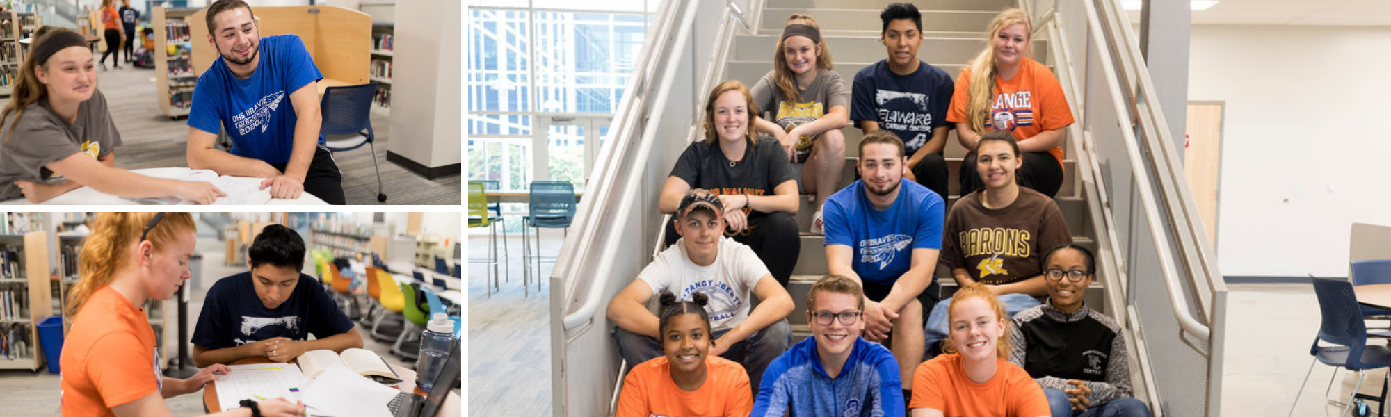 Group of students sitting on the stairs together
