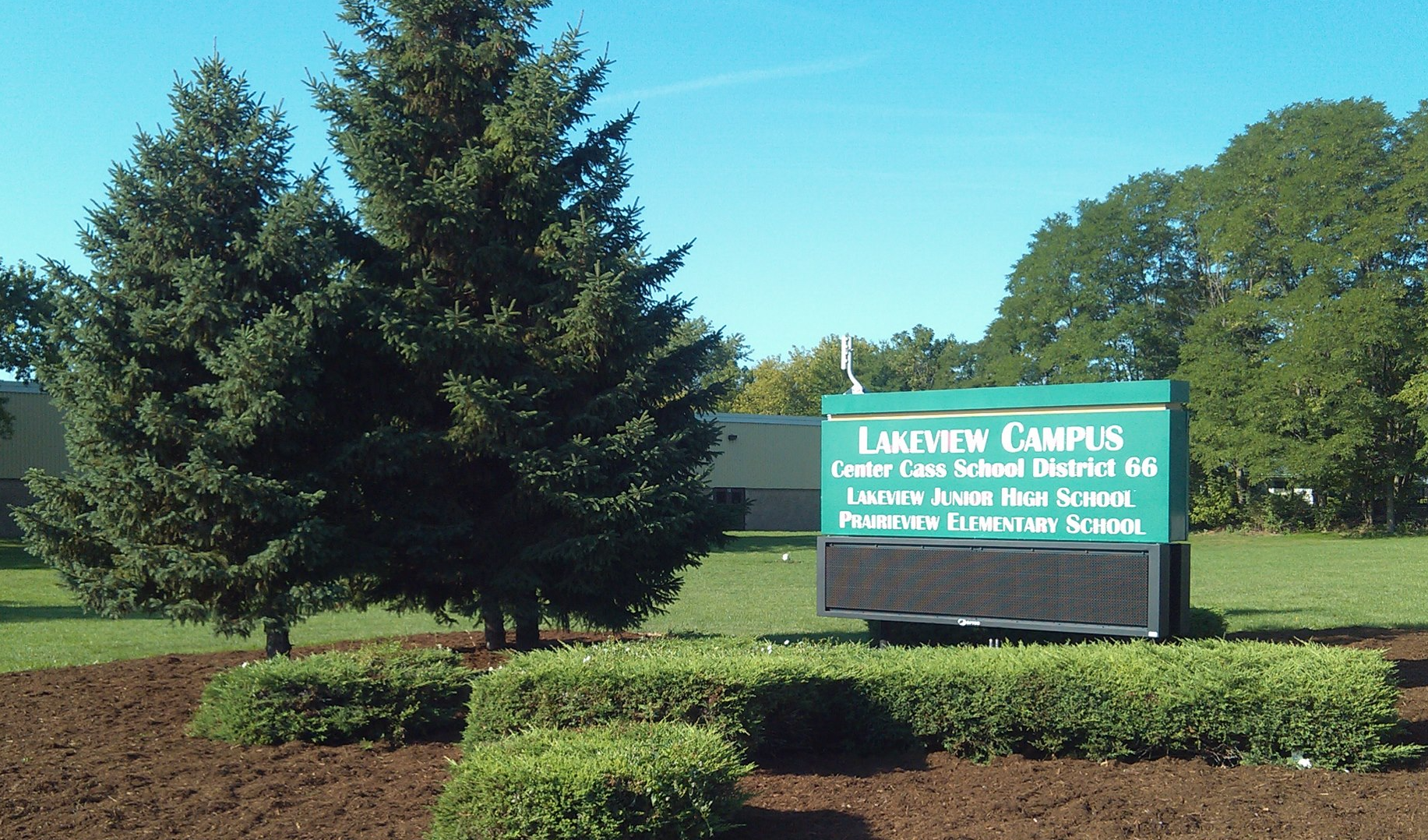 Lakeview Campus Center Cass District 66 sign