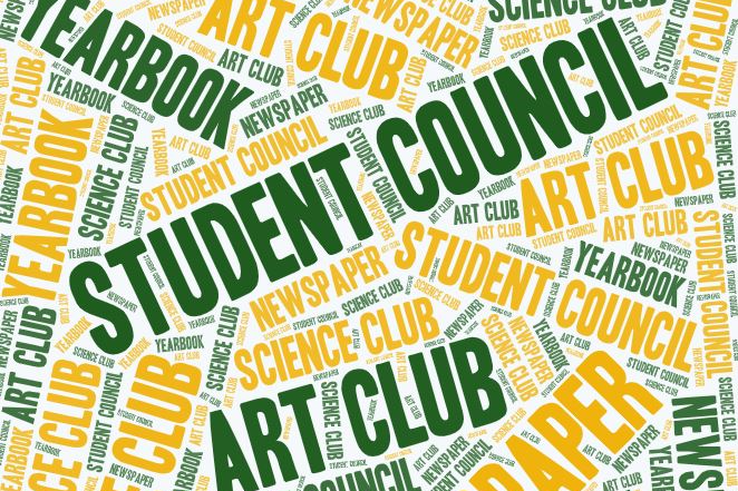 graphic that reads art club, newspaper, student council, science club, and yearbook