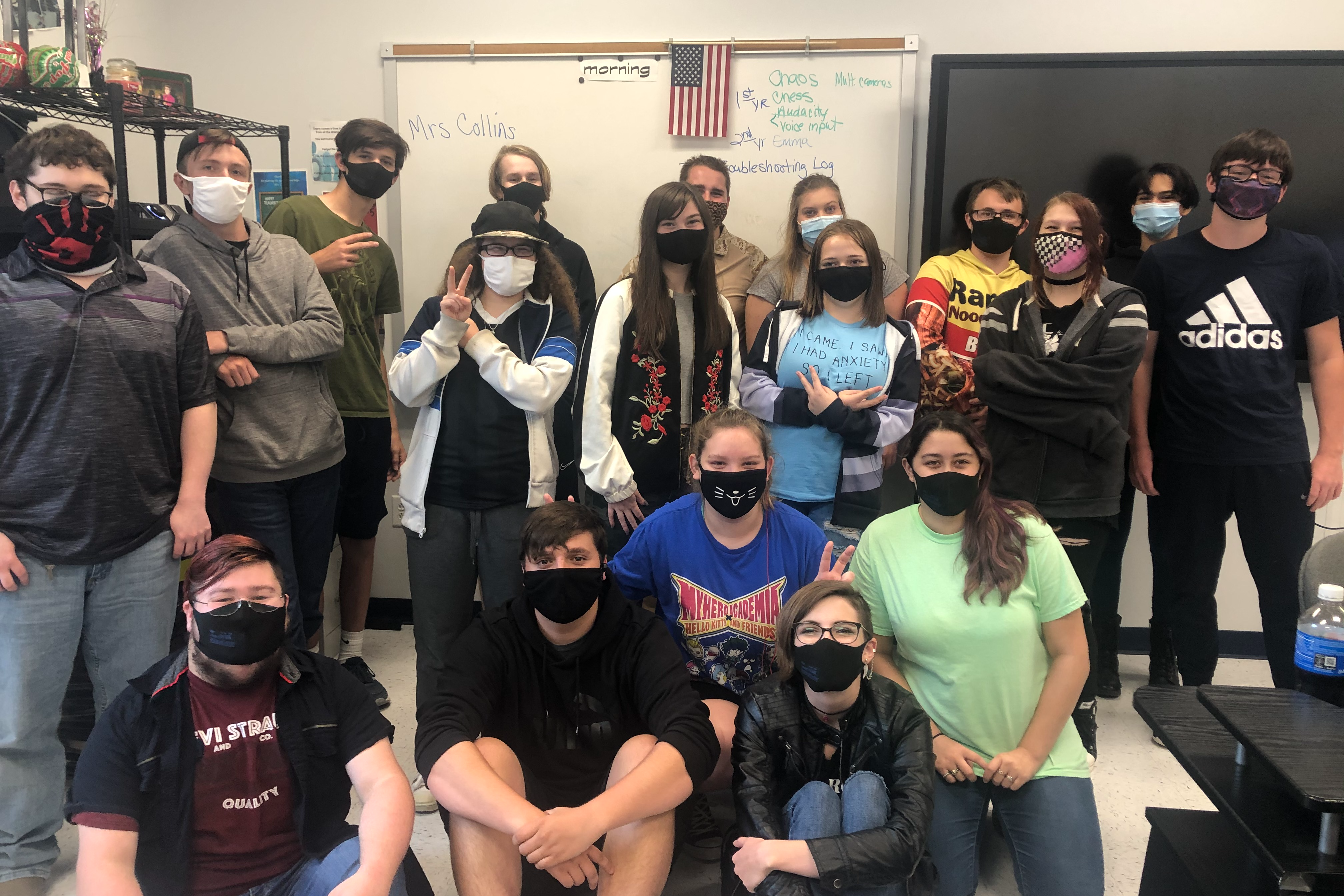 A group of students in masks