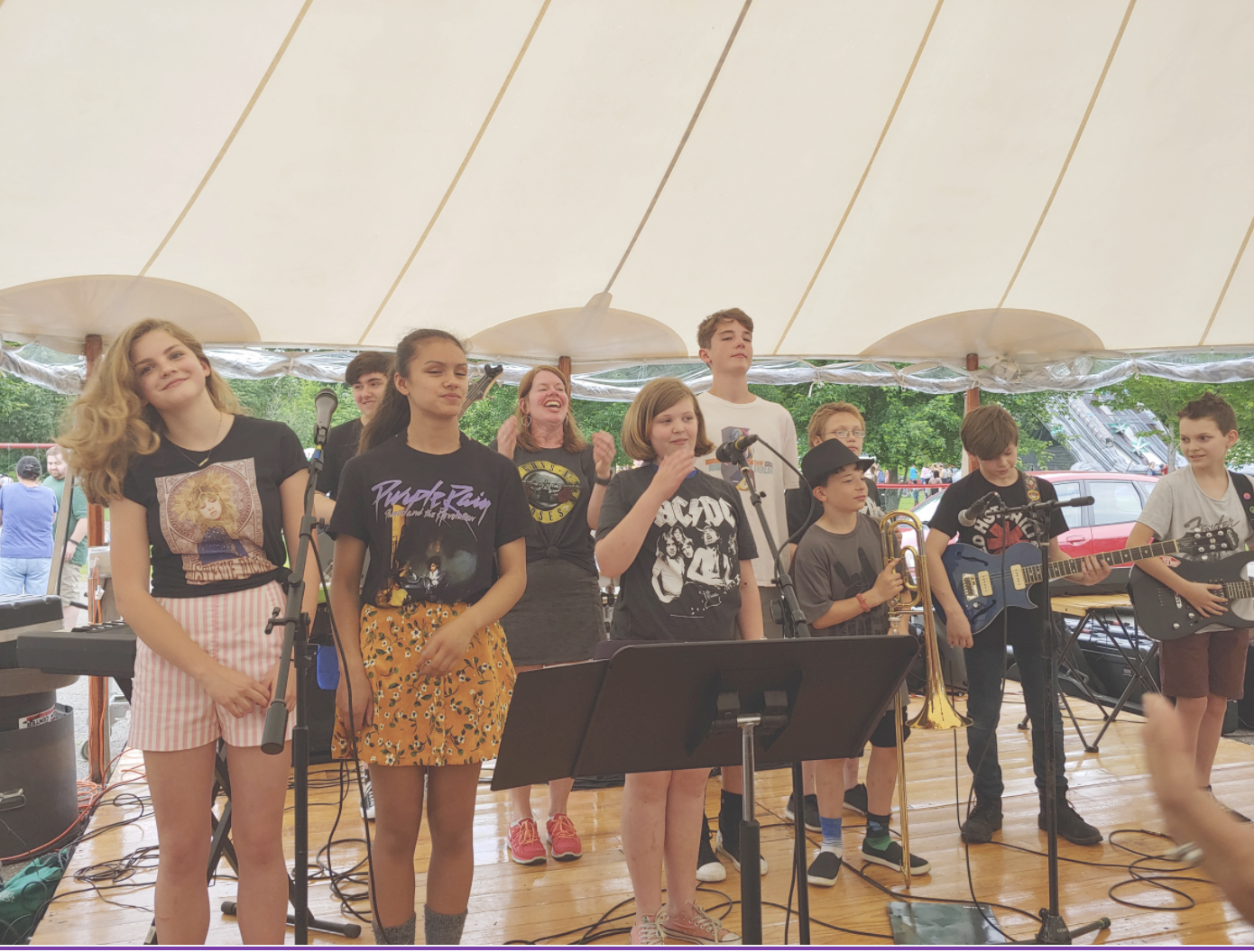Marshwood Middle School band plays at the Strawberry Festival