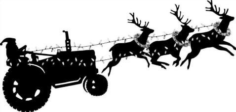 Santa tractor flying