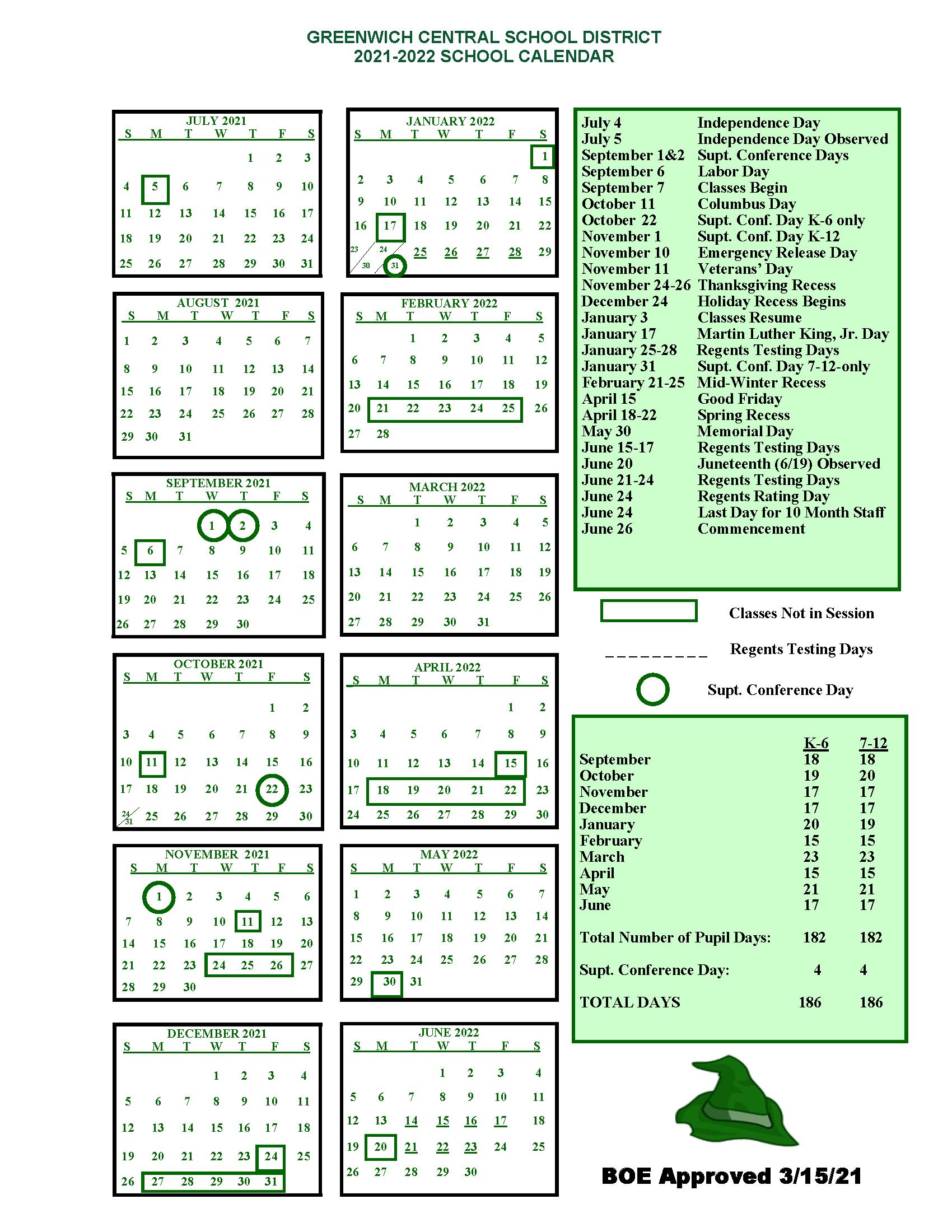 2021-2022 District Calendar graphic