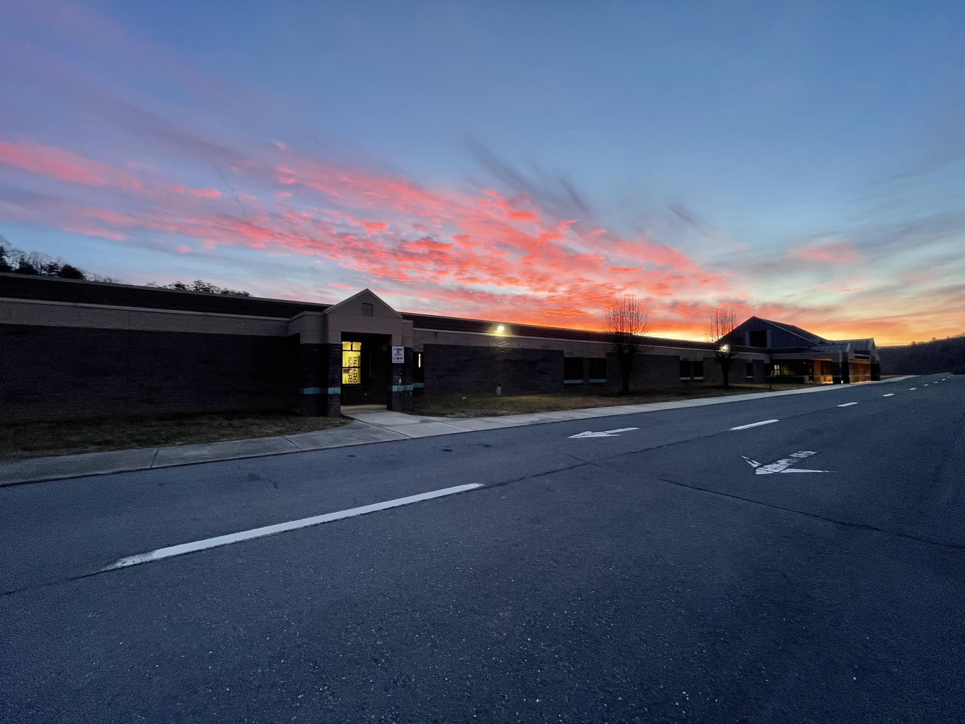 school at sunrise