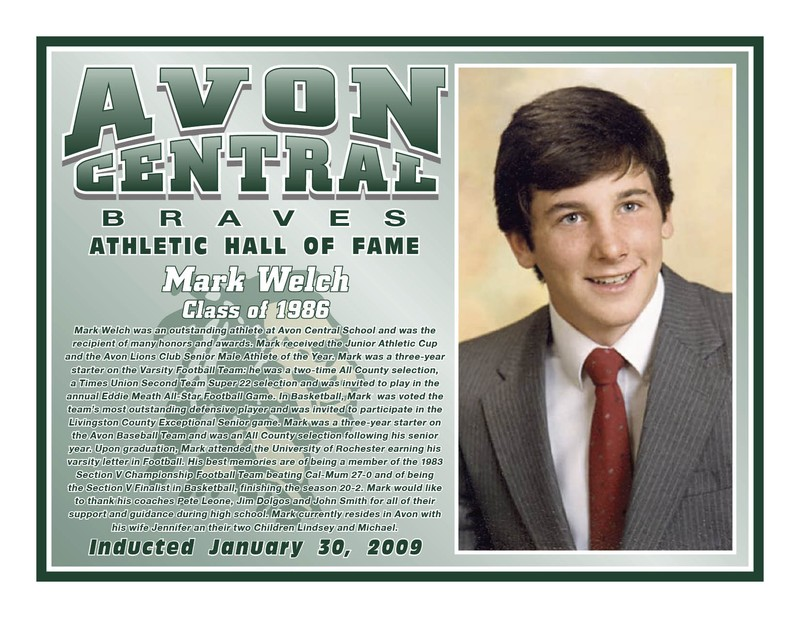 Avon Athletic Hall of Fame - Class of 2009