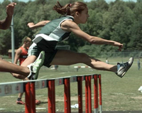 Krystal George 100 hurdle event while in high school.