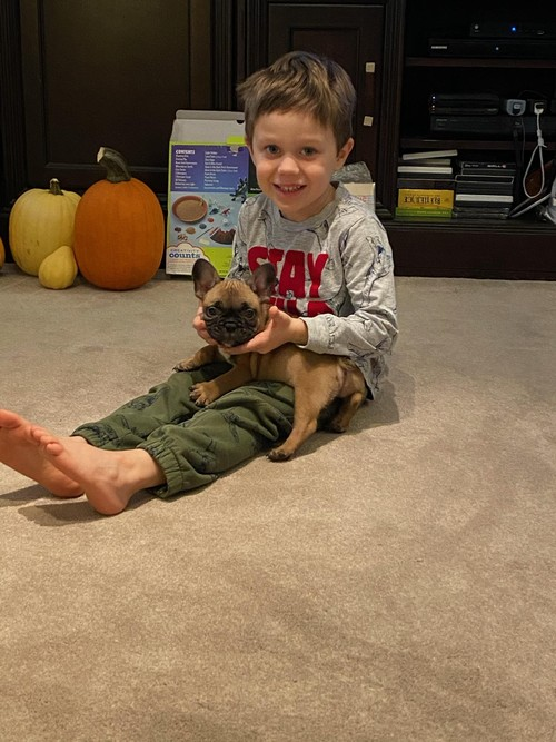 This is my 5 year old grandson with his new puppy, Donut.
