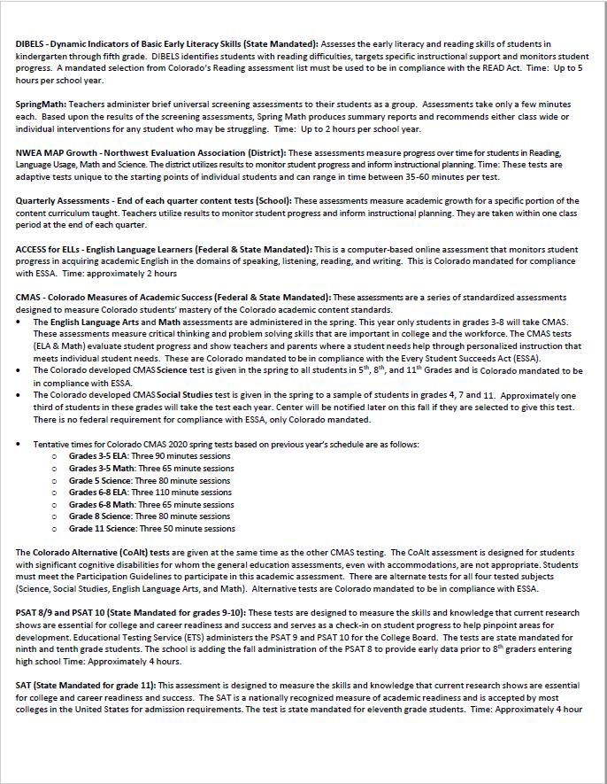 CCSD Assessment Calendar 2020-2021