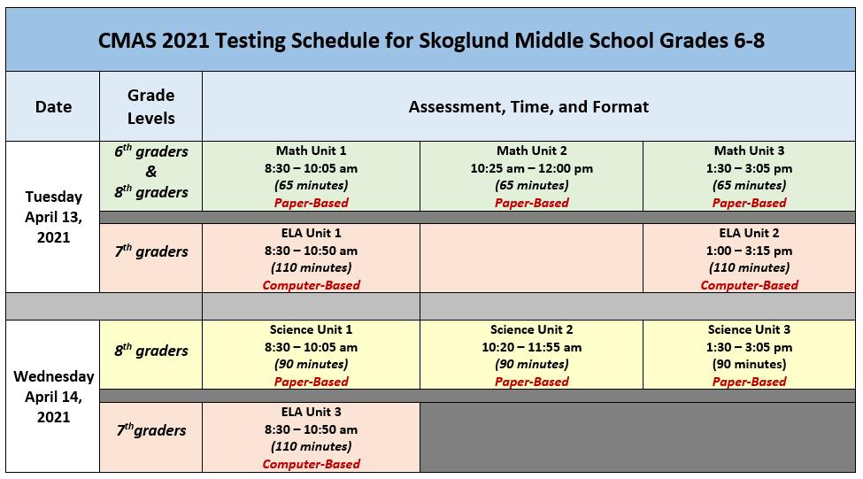 2021 CMAS Testing Schedule - Skoglund MS