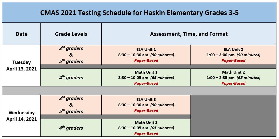 2012 CMAS Testing Schedule - Haskin Elem