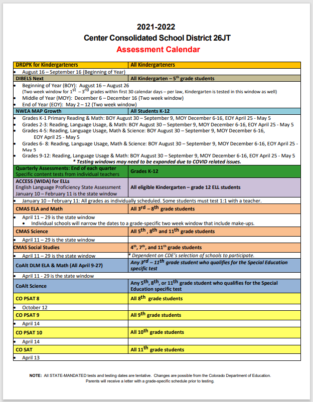 CCSD Assessment Calendar 2021-2022 page 1