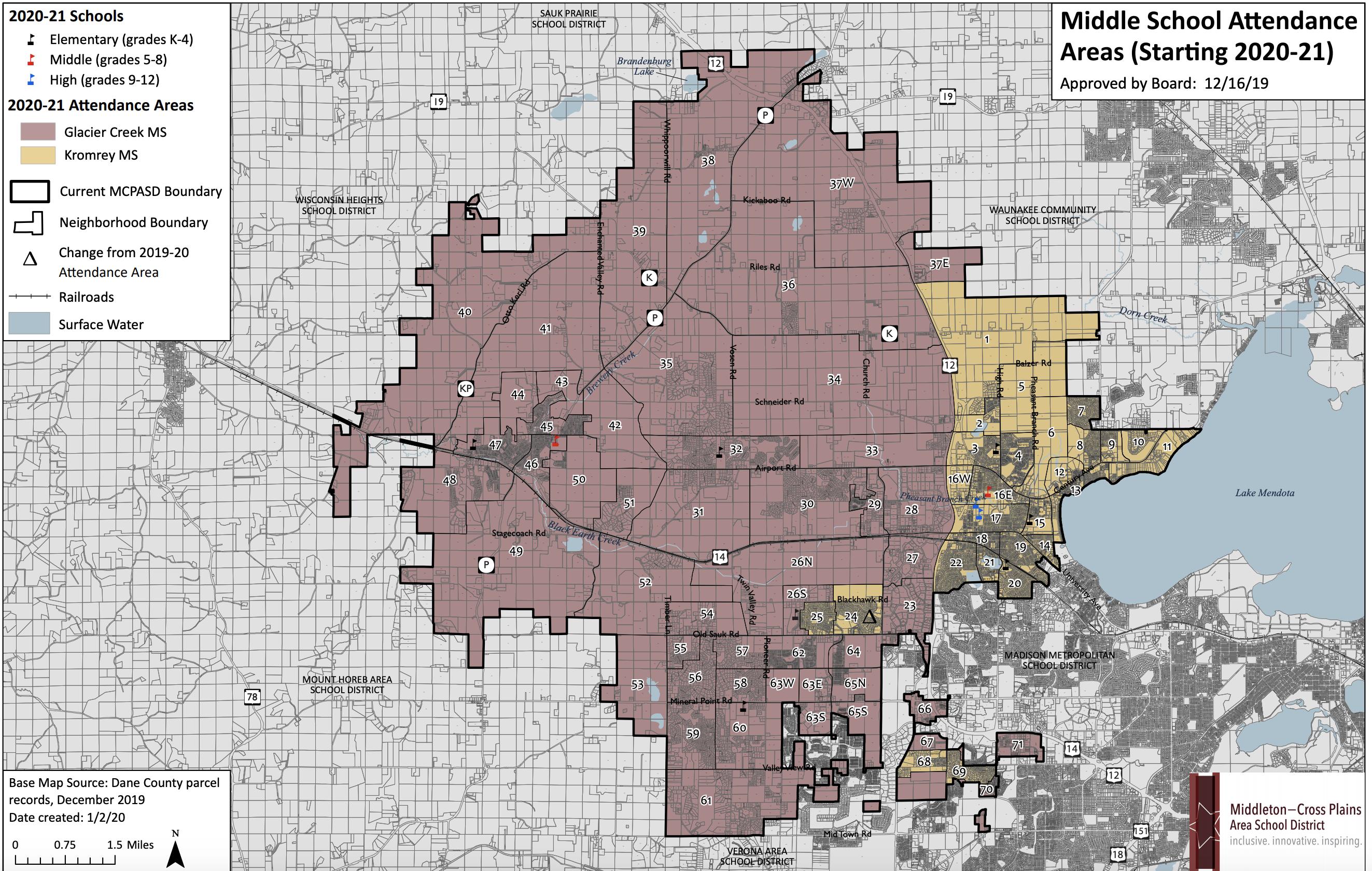 Middle School Boundaries with neighborhoods