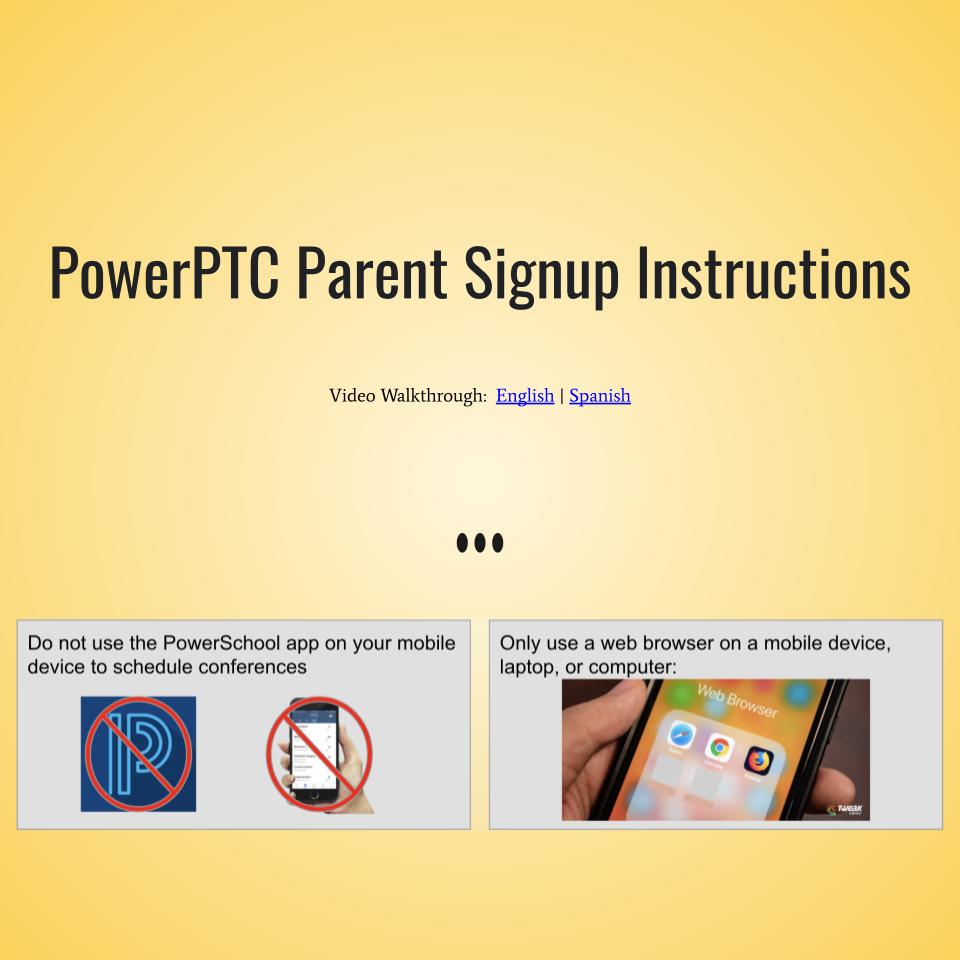 Image of Parent Teacher Conferences Instructions