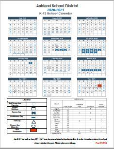 2020-2021 Staff School Day Calendar
