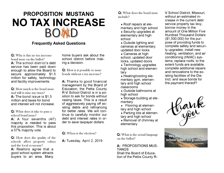 This is a document of questions and answer about the Bond Issue proposed in 2019.