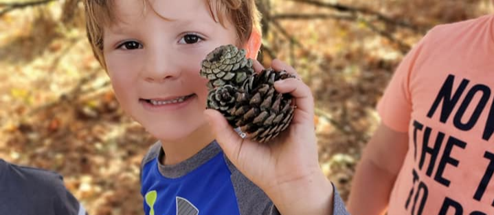 A 4K students holds up a pinecone