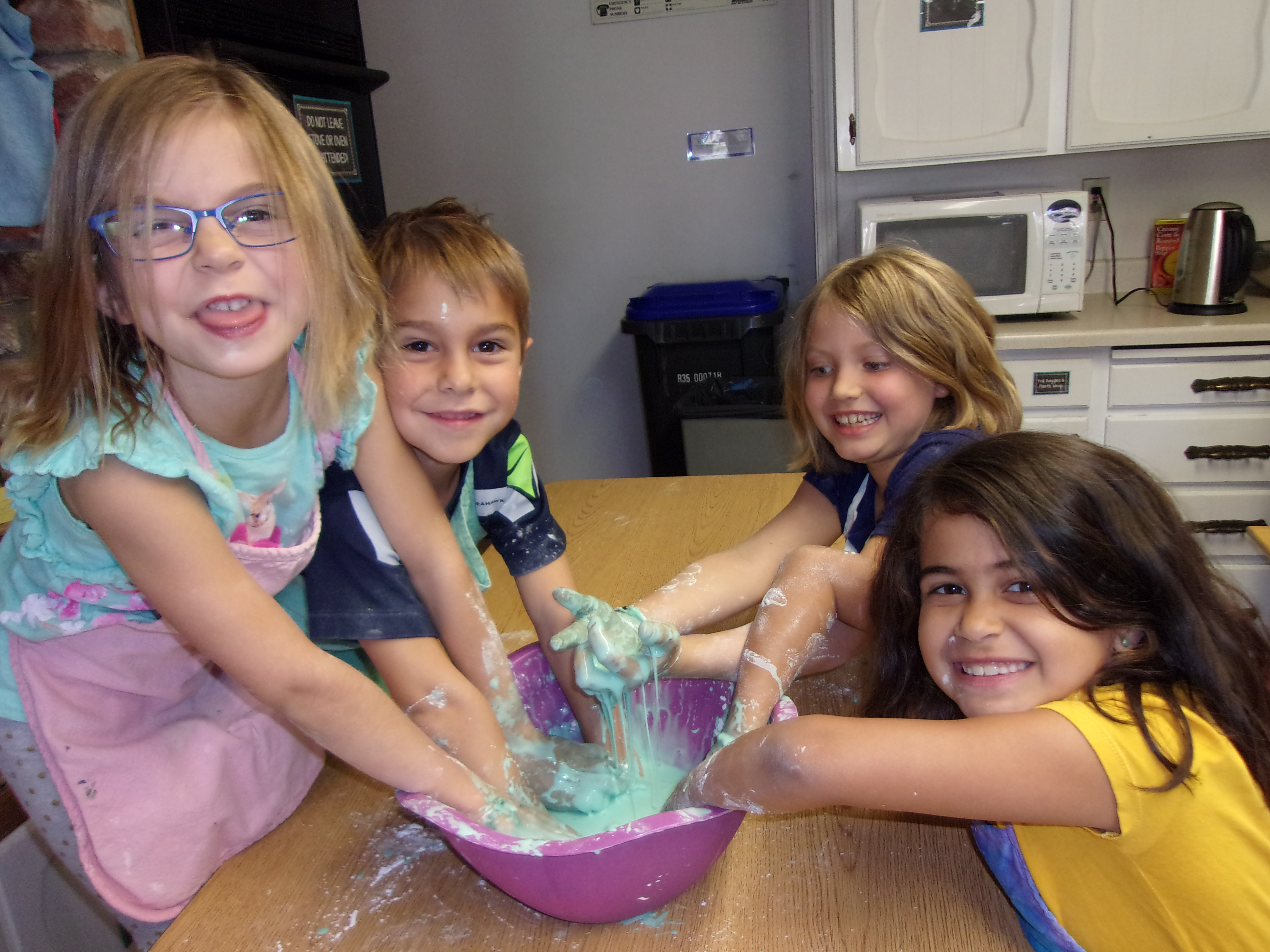 kids playing with gloop