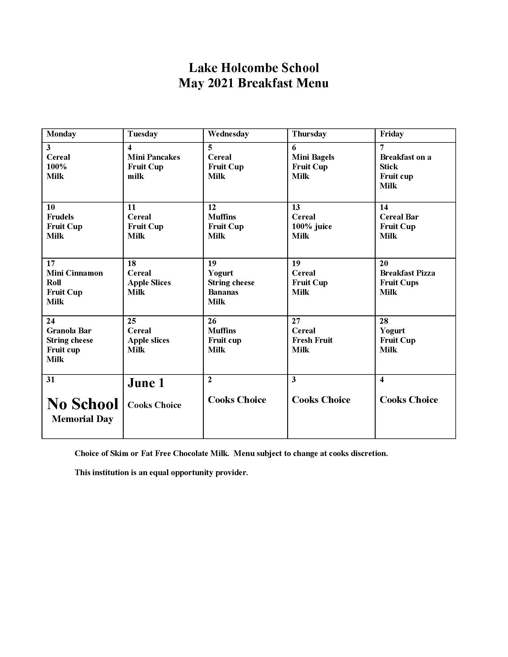 May & June 2021 Breakfast Menu
