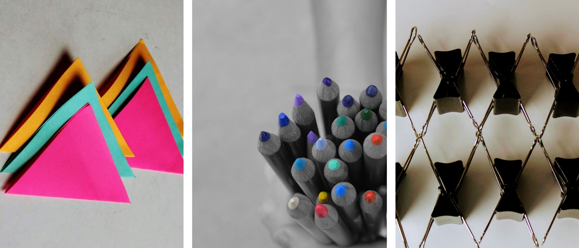 Schools of Choice collage Banner - Triangle pieces of paper, girl holding colored pencils and binders stacked together in a zig zag pattern