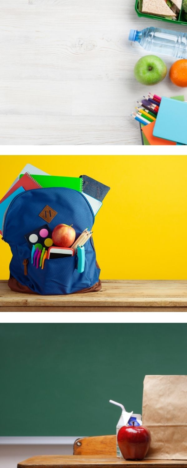 Food service collage banner with pictures of school supplies, backpack, chalkboard, apples and a sandwich