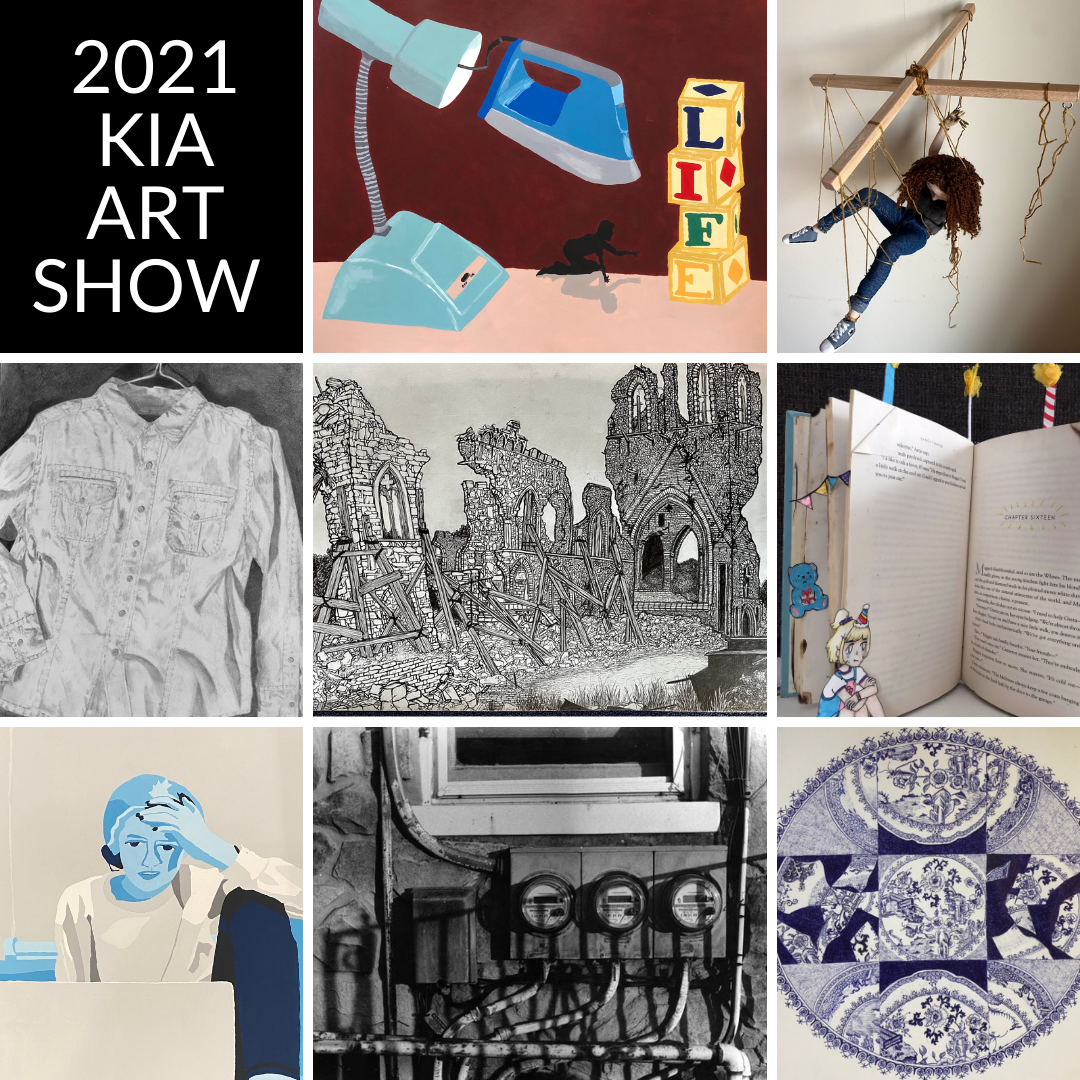 Picture collage of student's artwork that was selected for KIA art show