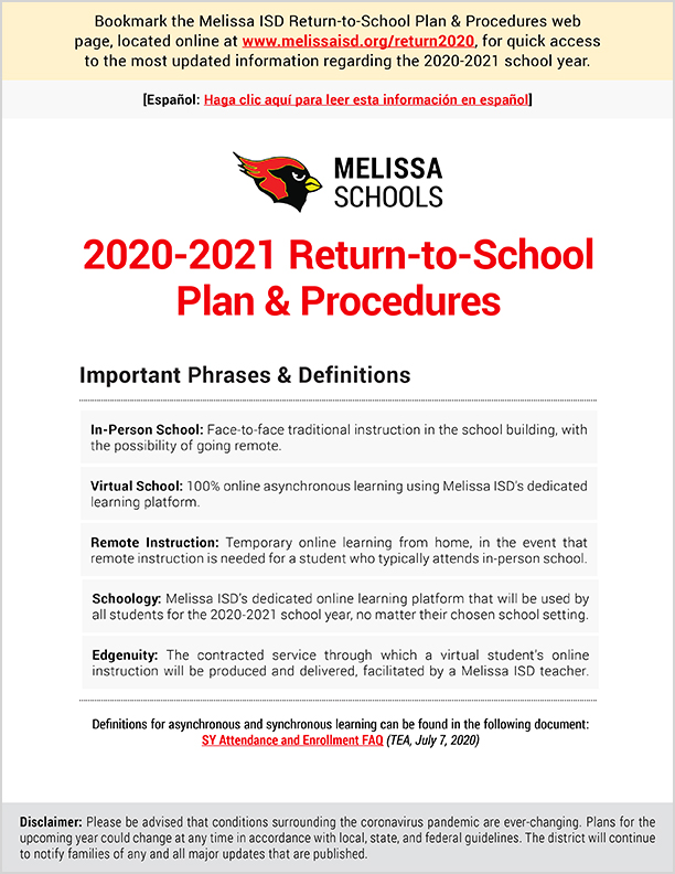 Page 1 of the 2020-2021 Return to School Plan