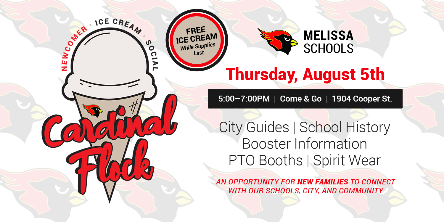 a graphic advertising the Cardinal Flock Newcomer Ice Cream Social on Aug. 5, 2021