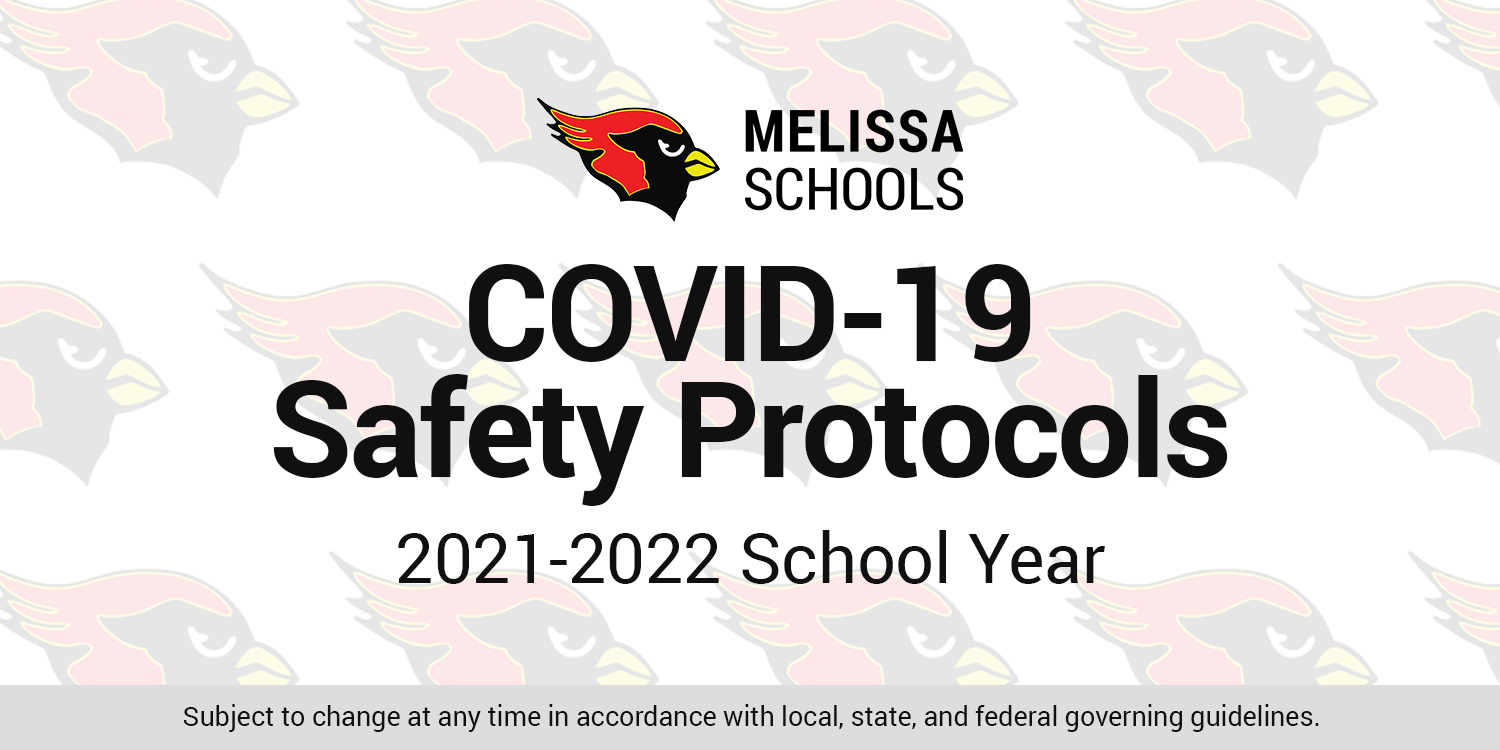 a graphic advertising COVID-19 safety protocols for Melissa Schools