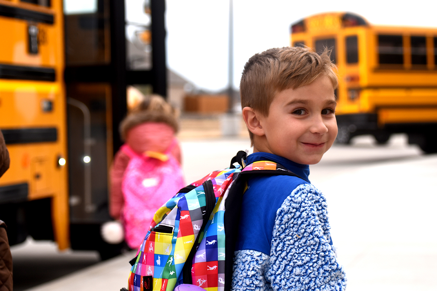 Student walks to the bus