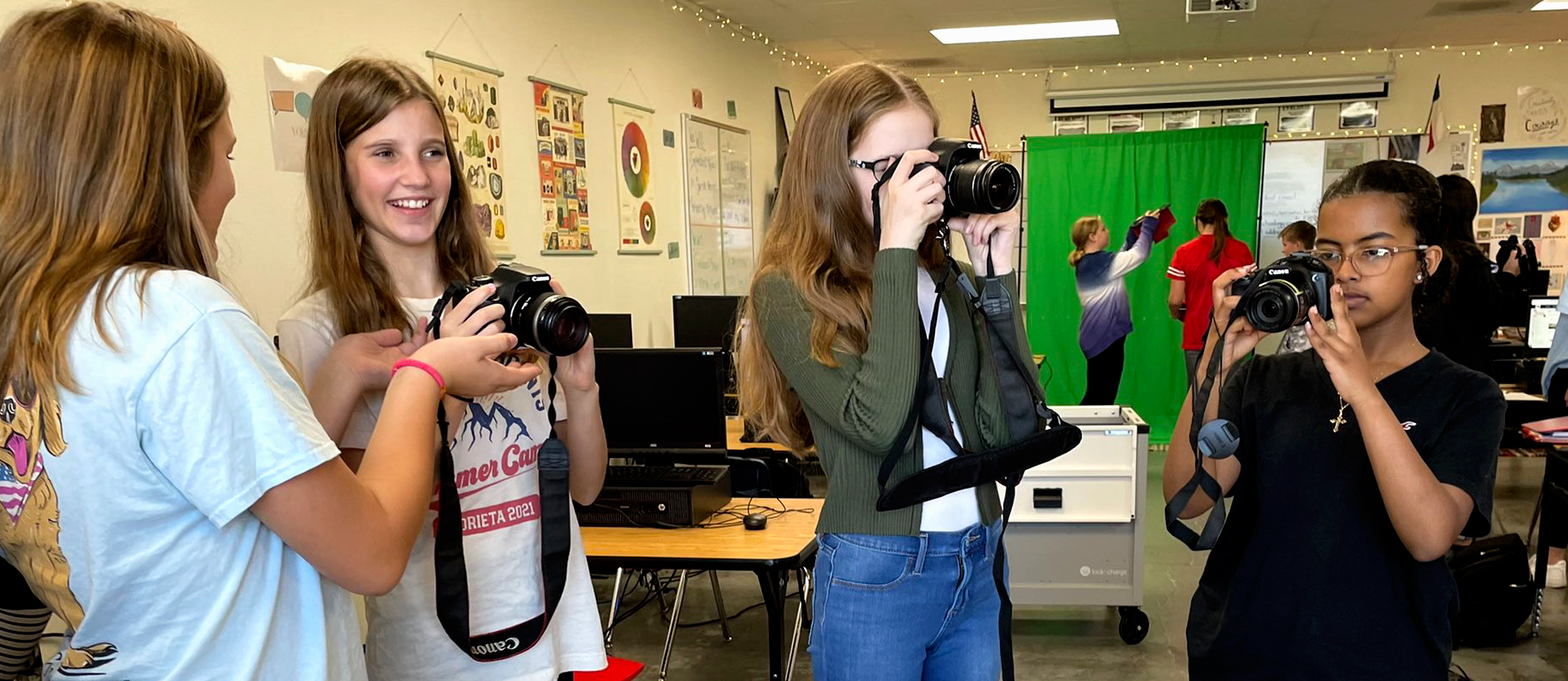 Journalism students practice photography