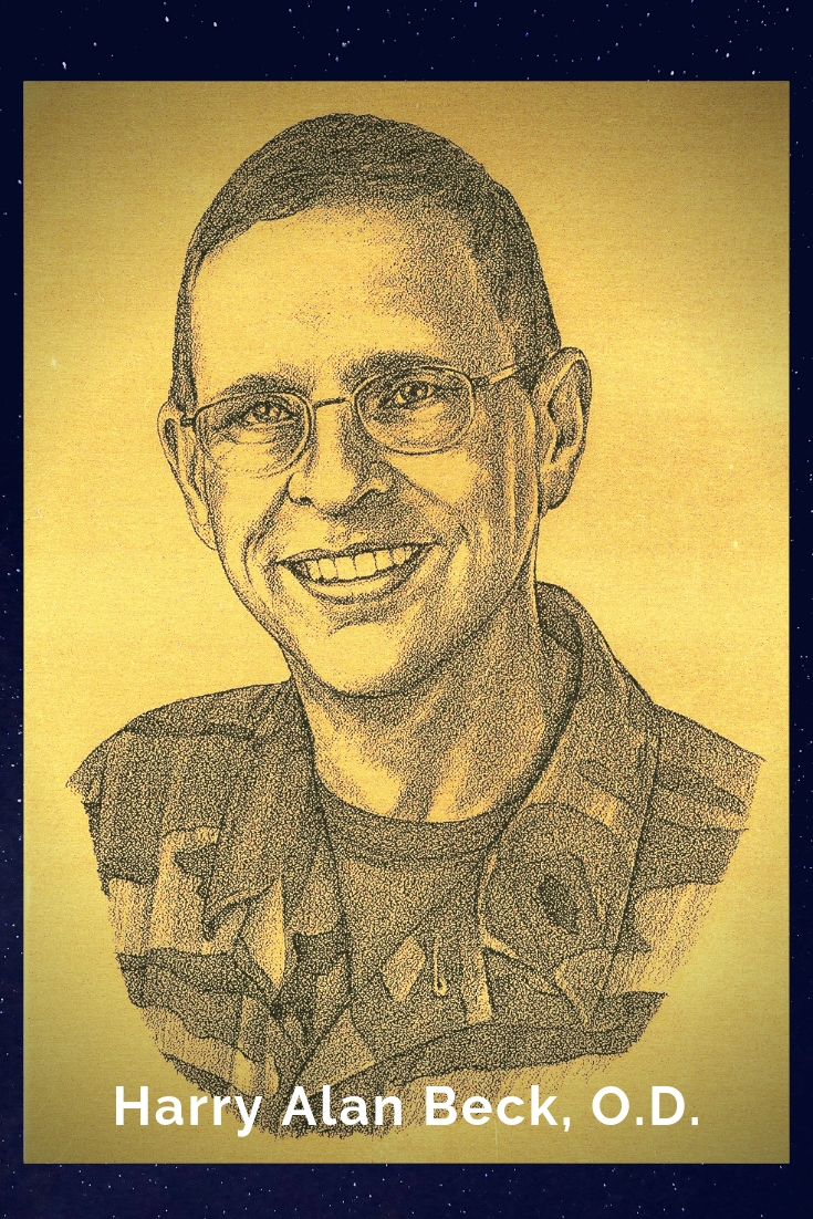 Drawing Portrait Recreation of Harry Alan Beck, O.D.