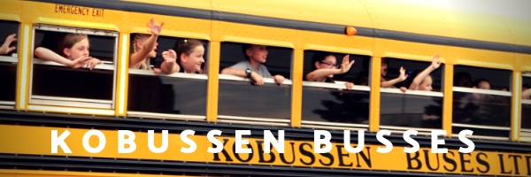 "photo of kids in a school bus that says ""kobussen busses"""
