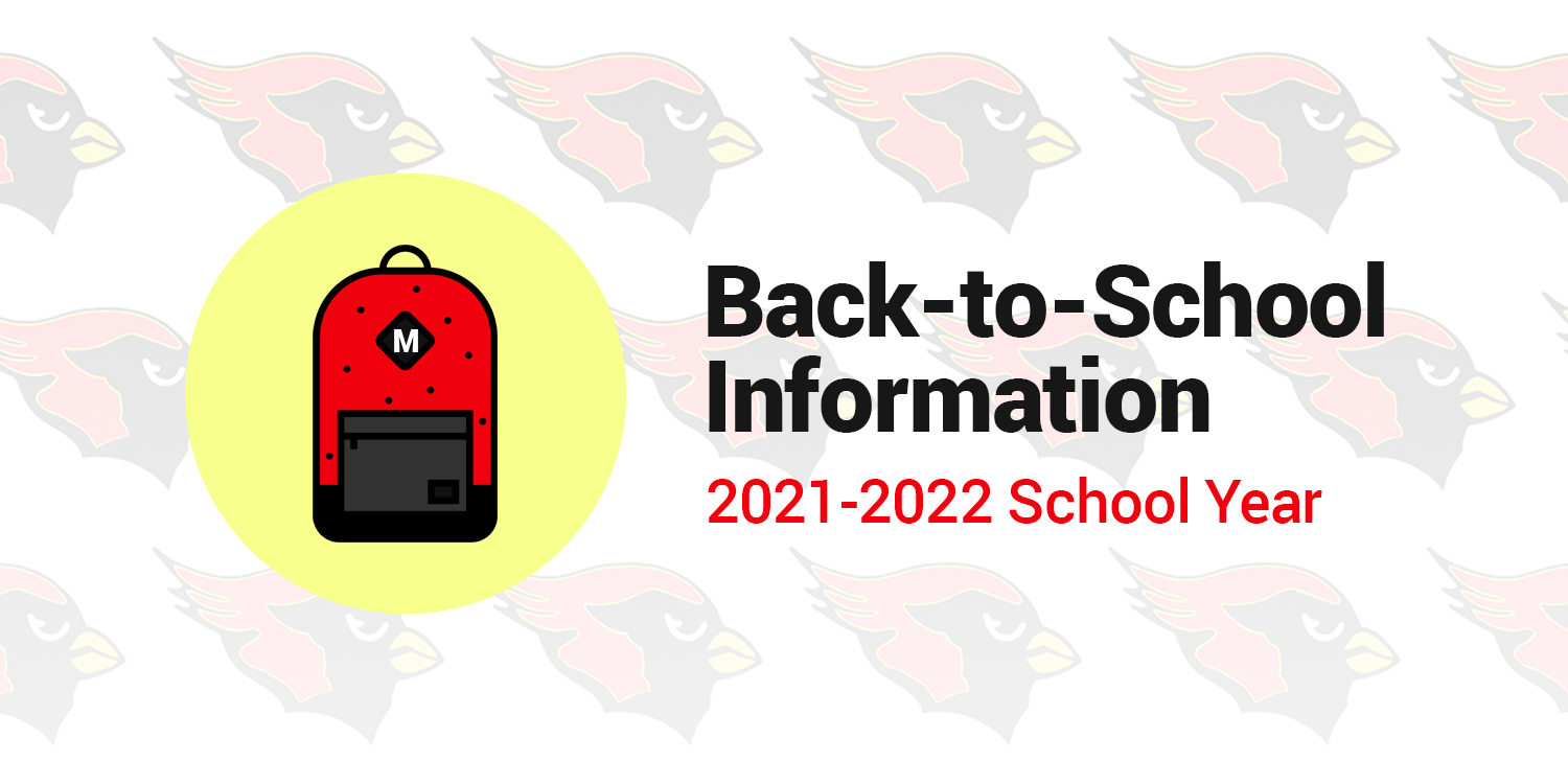 a graphic with a backpack and the words 'Back-to-School Information; 2021-2022 School Year'