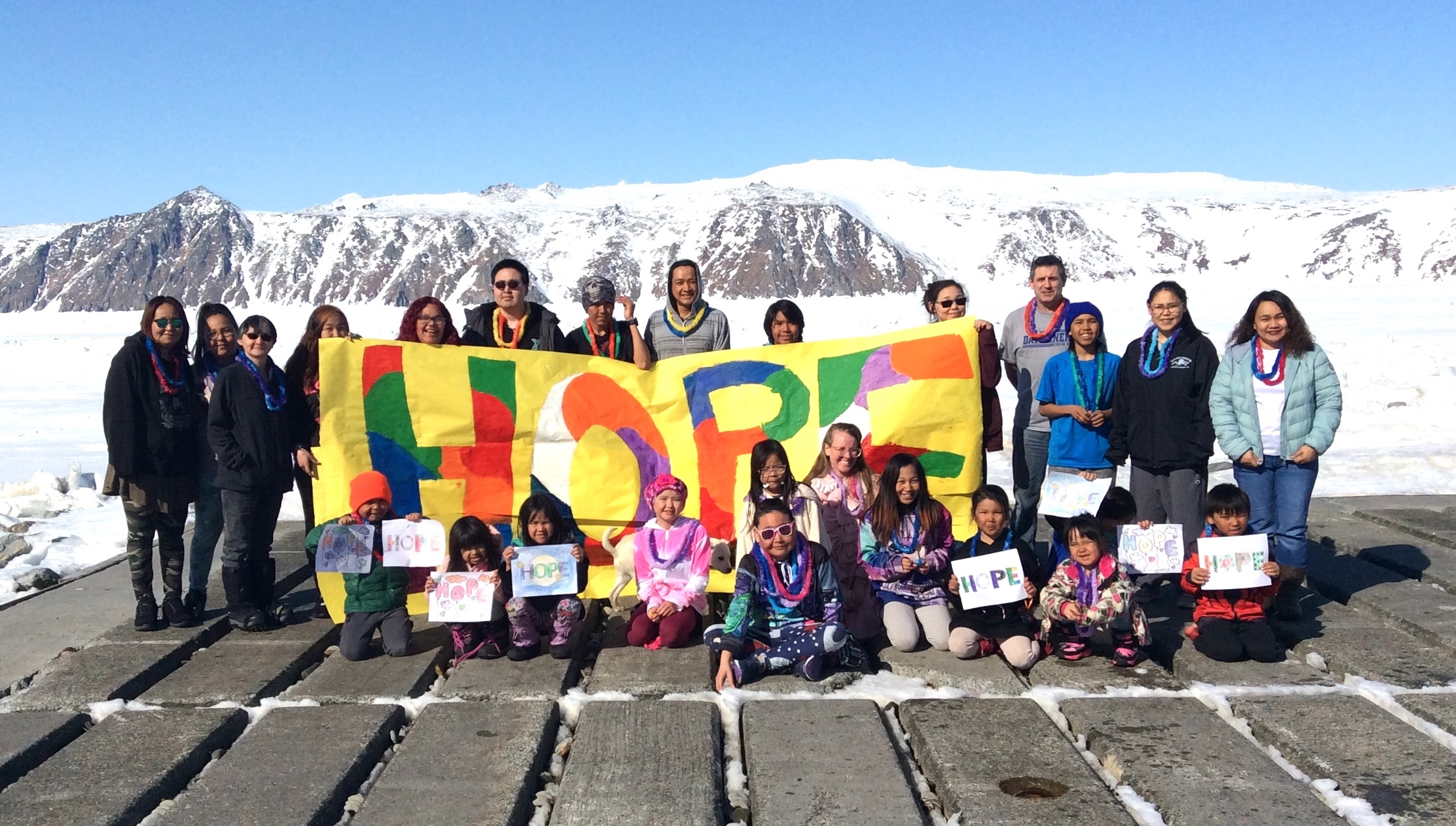 Diomede School Staff and Students with Hope sign