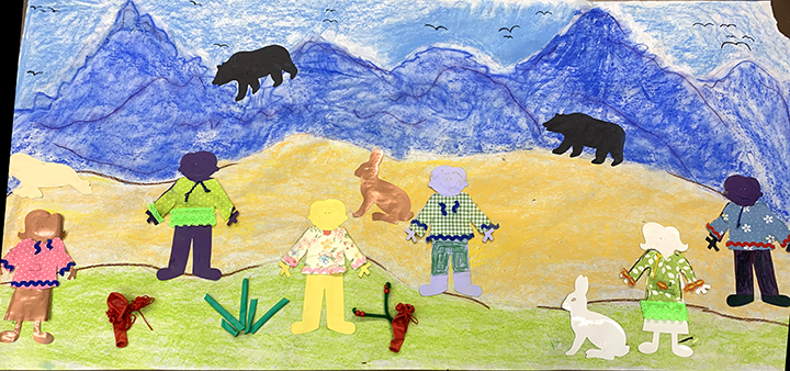 Multi media landscape with arctic animals and men and women wearing qaspeqs.