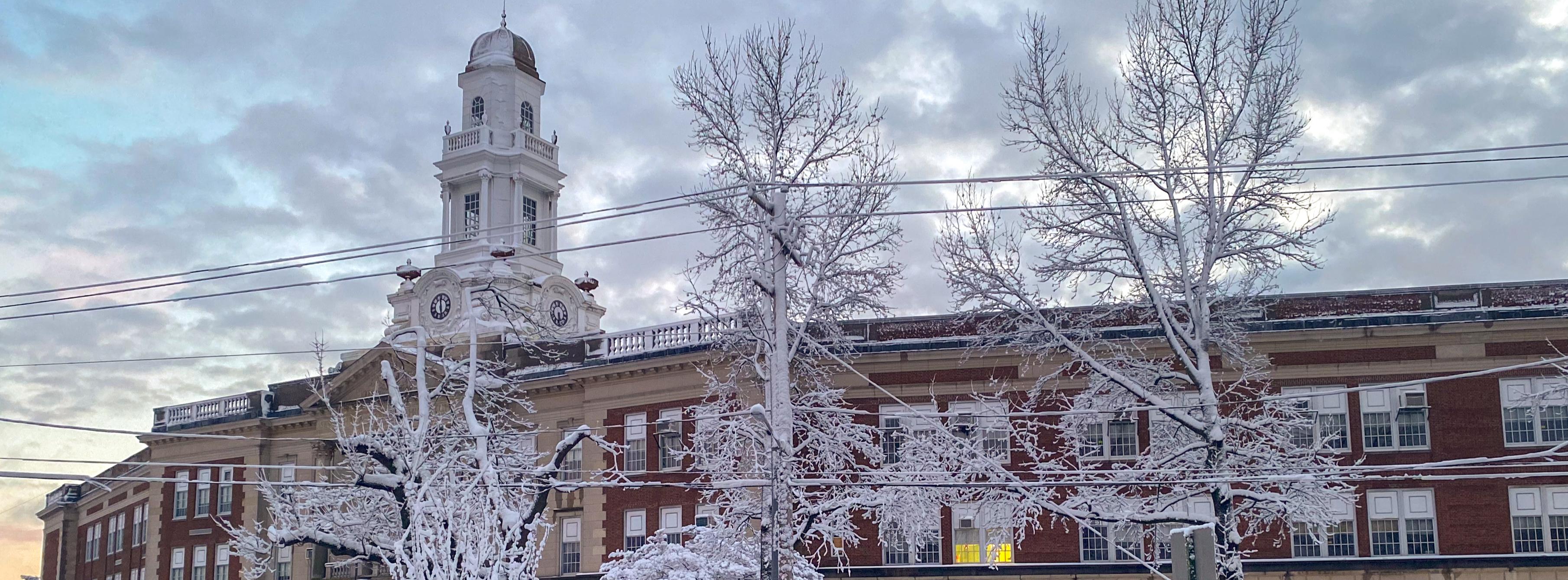 Sewanhaka High School in the Snow