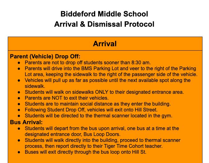 Biddeford Middle School Arrival & Dismissal Protocol