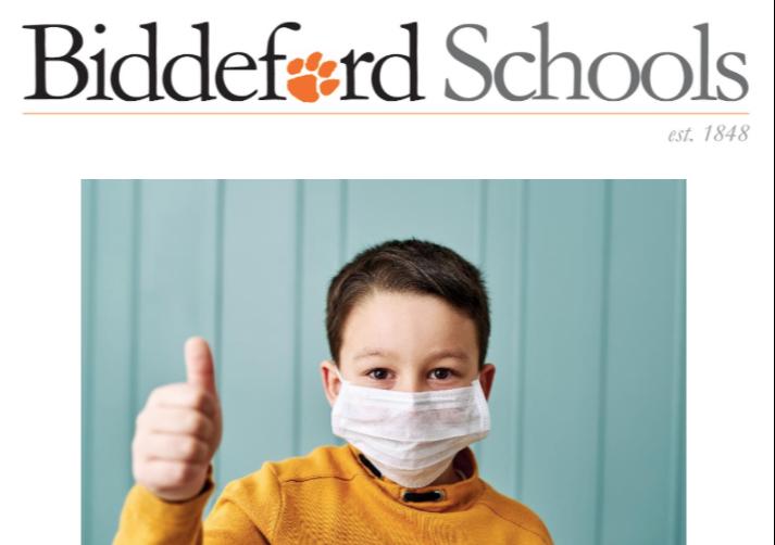 Biddeford Schools Kid wearing a mask