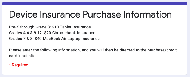 Device Insurance Purchase Information