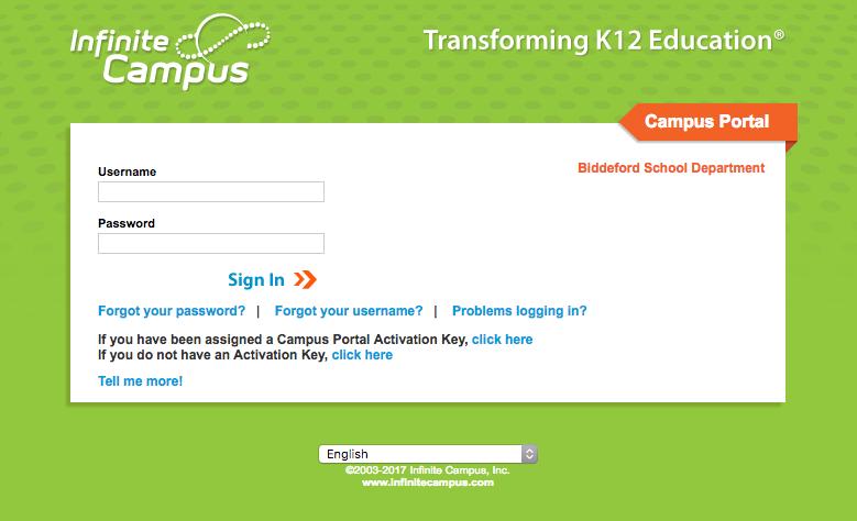 Infinite Campus Homepage