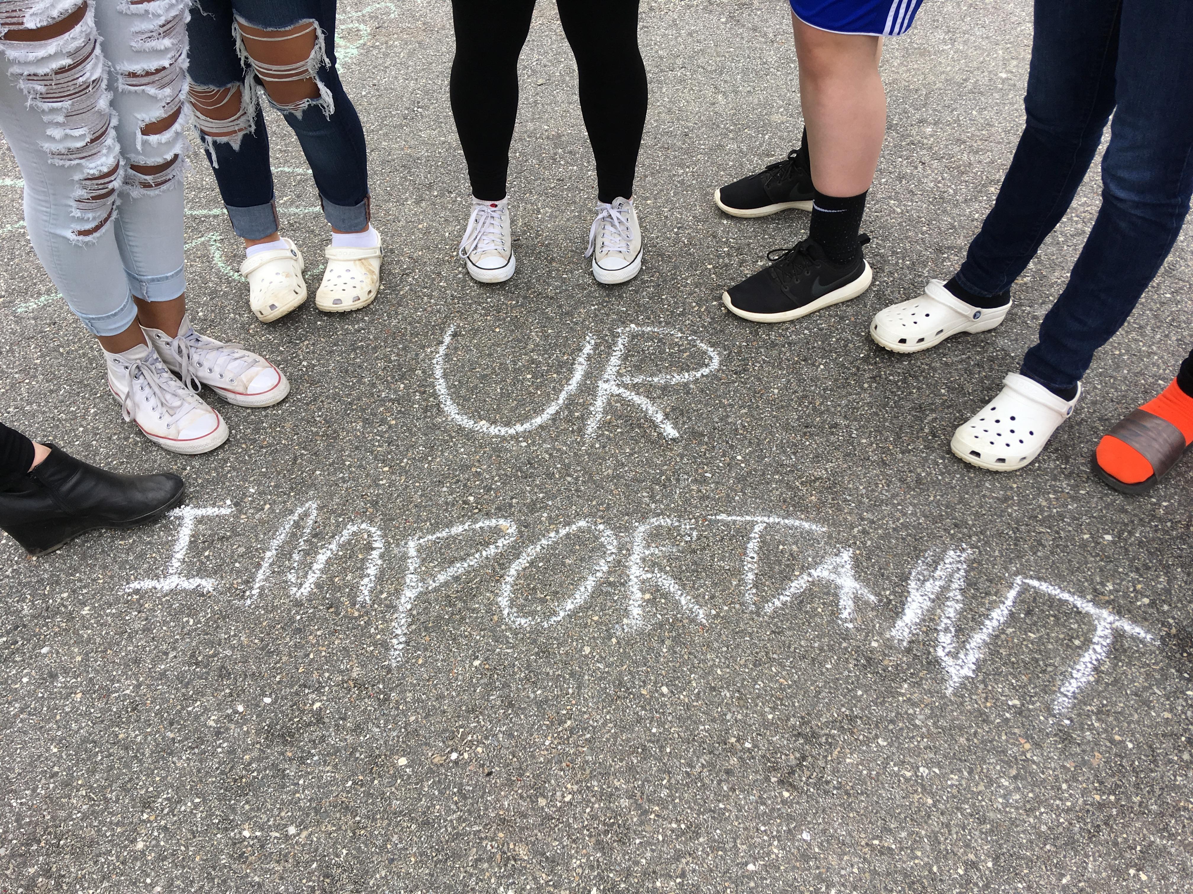 """UR IMPORTANT"" written in the floor"