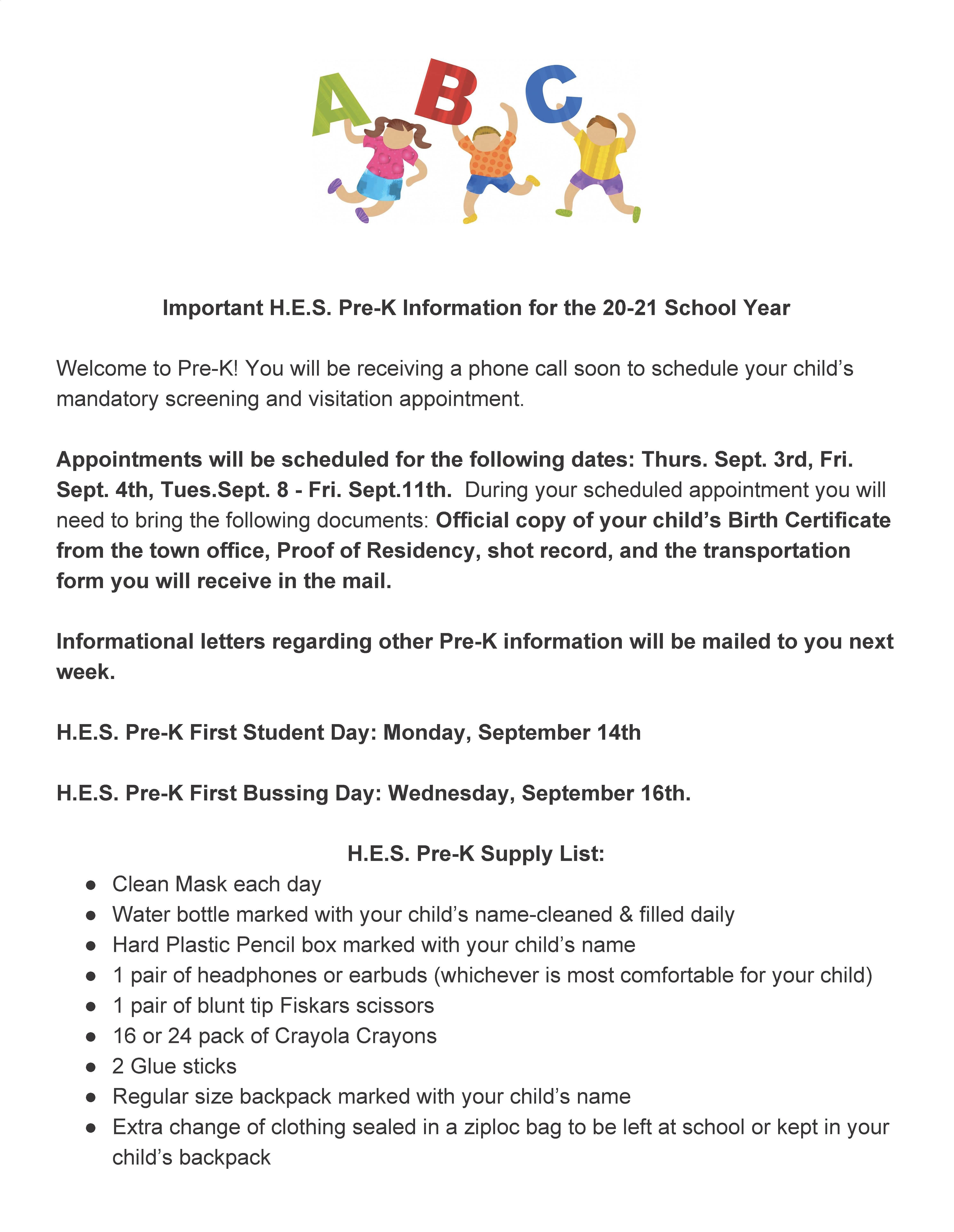 20-21 Pre-K Info for Facebook & Website