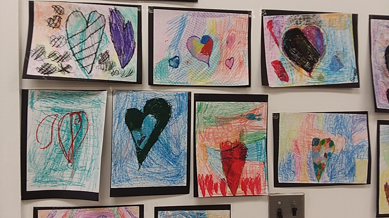 1st grade heart artwork
