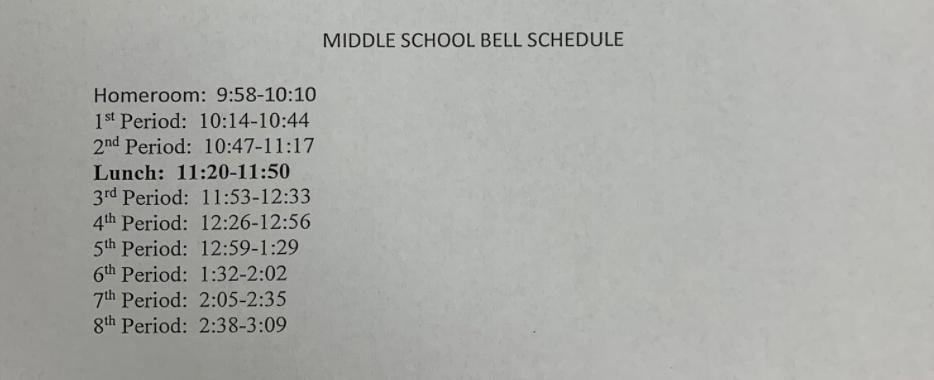 2 Hour Delay Schedule