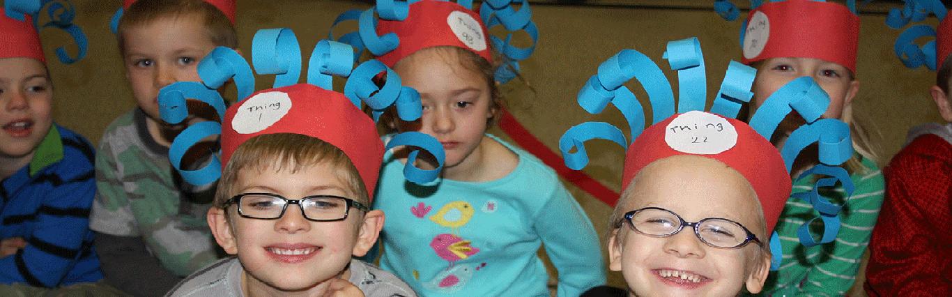 Parkside student body enjoy Dr. Seuss day assembly.