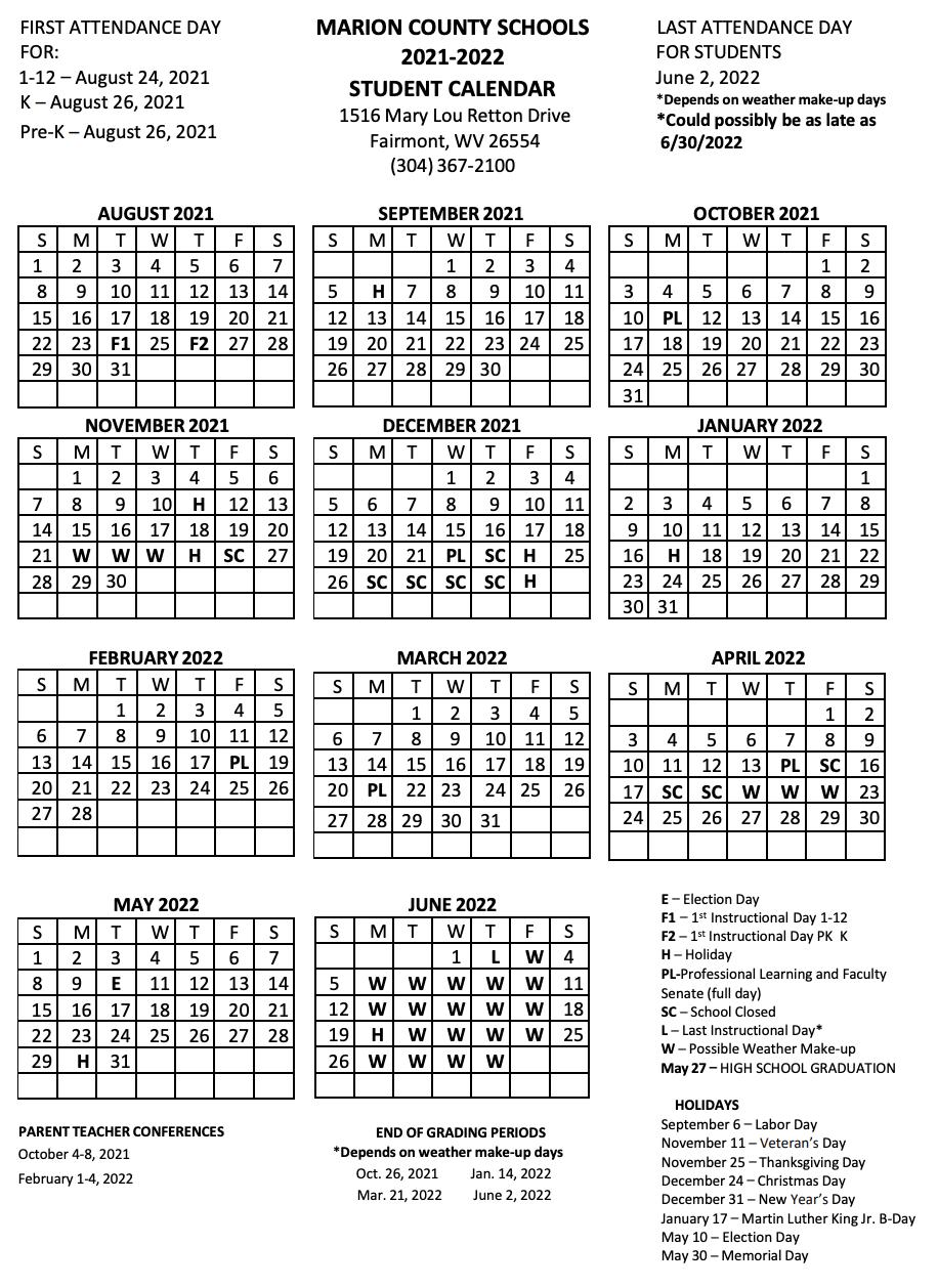 Marion County Academic Calendar