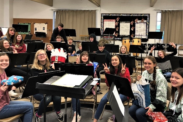 Junior high band celebrates during the holidays.