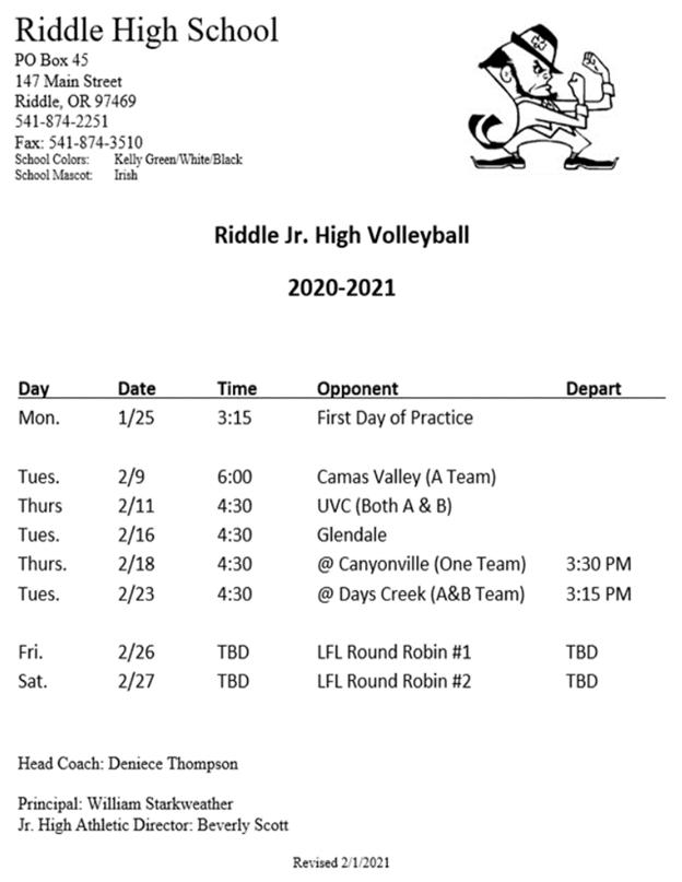 Jr. High volleyball schedule